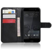 Чехол портмоне подставка на силиконовой основе на магнитной защелке для HTC 10 Черный