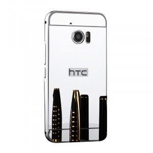 Двухкомпонентный чехол c металлическим бампером с поликарбонатной накладкой и зеркальным покрытием для HTC 10  Белый