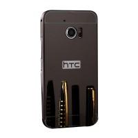 Двухкомпонентный чехол c металлическим бампером с поликарбонатной накладкой и зеркальным покрытием для HTC 10  Черный