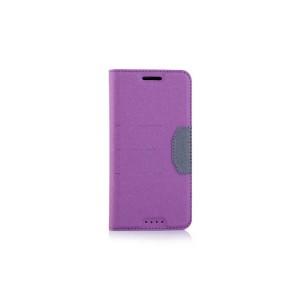 Чехол горизонтальная книжка подставка на силиконовой основе с отсеком для карт и тканевым покрытием для HTC 10  Фиолетовый