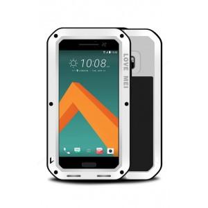 Эксклюзивный многомодульный ультрапротекторный пылевлагозащищенный ударостойкий нескользящий чехол алюминиево-цинковый сплав/силиконовый полимер с закаленным защитным стеклом для HTC 10