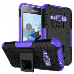 Силиконовый матовый непрозрачный чехол с нескользящими гранями, улучшенной защитой элементов корпуса (заглушки) и встроенной ножкой-подставкой для Samsung Galaxy J1 (2016) Фиолетовый