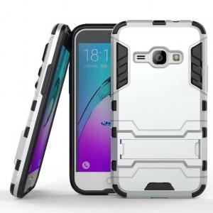 Силиконовый матовый непрозрачный чехол с улучшенной защитой элементов корпуса (заглушки) и встроенной ножкой-подставкой для Samsung Galaxy J1 (2016)  Белый