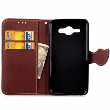 Чехол портмоне подставка на силиконовой основе на магнитной защелке для Samsung Galaxy J1 (2016)