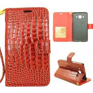 Чехол портмоне подставка текстура Крокодил на пластиковой основе на магнитной защелке для Samsung Galaxy J1 (2016)  Красный
