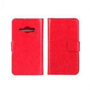 Глянцевый чехол портмоне подставка на пластиковой основе на магнитной защелке для Samsung Galaxy J1 (2016) Красный