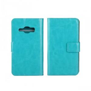 Глянцевый чехол портмоне подставка на пластиковой основе на магнитной защелке для Samsung Galaxy J1 (2016)  Голубой