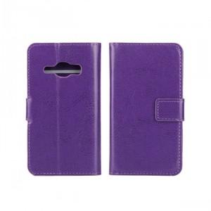 Глянцевый чехол портмоне подставка на пластиковой основе на магнитной защелке для Samsung Galaxy J1 (2016)  Фиолетовый
