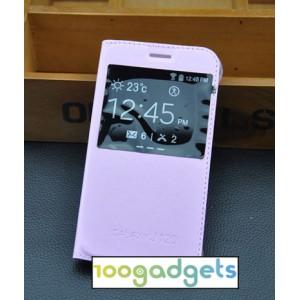 Чехол горизонтальная книжка на пластиковой основе с окном вызова для Samsung Galaxy J1 (2016) Розовый