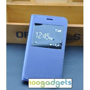 Чехол горизонтальная книжка на пластиковой основе с окном вызова для Samsung Galaxy J1 (2016) Синий