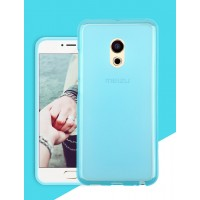 Силиконовый матовый полупрозрачный чехол для Meizu Pro 6  Голубой