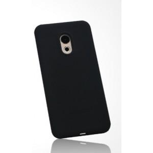 Силиконовый матовый непрозрачный чехол с нескользящим софт-тач покрытием для Meizu Pro 6  Черный