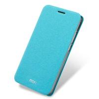 Чехол горизонтальная книжка подставка на силиконовой основе для Meizu Pro 6  Голубой