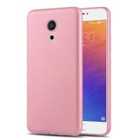 Силиконовый матовый непрозрачный чехол для Meizu Pro 6  Розовый
