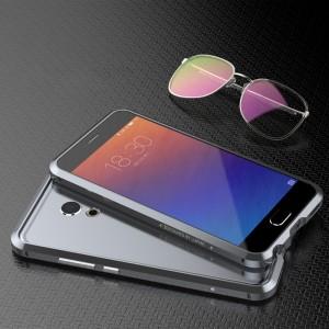 Металлический прямоугольный бампер сборного типа на винтах для Meizu Pro 6  Серый