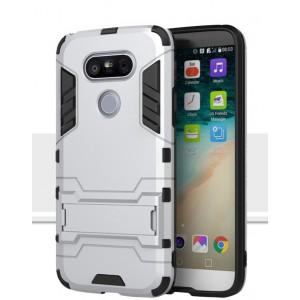 Противоударный двухкомпонентный силиконовый матовый непрозрачный чехол с поликарбонатными вставками экстрим защиты с встроенной ножкой-подставкой для LG G5  Белый