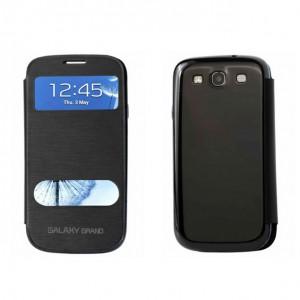 Текстурный чехол флип на пластиковой основе с окном вызова и свайпом для Samsung Galaxy Grand / Grand Neo Черный