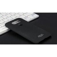 Пластиковый непрозрачный матовый чехол с повышенной шероховатостью для LG G5  Черный