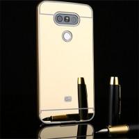 Двухкомпонентный чехол c металлическим бампером с поликарбонатной накладкой и зеркальным покрытием для LG G5 Бежевый