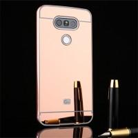 Двухкомпонентный чехол c металлическим бампером с поликарбонатной накладкой и зеркальным покрытием для LG G5 Розовый