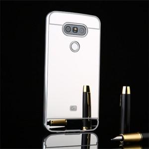 Двухкомпонентный чехол c металлическим бампером с поликарбонатной накладкой и зеркальным покрытием для LG G5