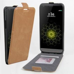 Чехол вертикальная книжка на силиконовой основе с отсеком для карт на магнитной защелке для LG G5