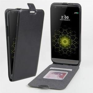 Чехол вертикальная книжка на силиконовой основе с отсеком для карт на магнитной защелке для LG G5  Черный