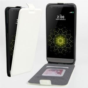 Чехол вертикальная книжка на силиконовой основе с отсеком для карт на магнитной защелке для LG G5  Белый