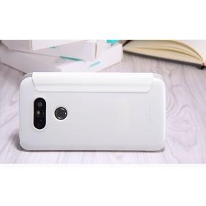 Чехол горизонтальная книжка на пластиковой нескользящей премиум основе с окном вызова для LG G5