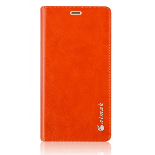Вощеный чехол горизонтальная книжка подставка на силиконовой основе на присосках для Xiaomi RedMi 3 Pro/3S Оранжевый