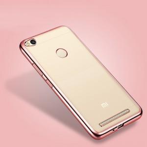 Силиконовый матовый полупрозрачный чехол с текстурным покрытием Металлик для Xiaomi RedMi 3 Pro/3S Розовый