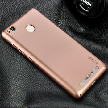 Пластиковый непрозрачный матовый чехол металлик с защитой торцов для Xiaomi RedMi 3 Pro/3S Розовый