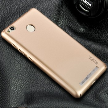 Пластиковый непрозрачный матовый чехол металлик с защитой торцов для Xiaomi RedMi 3 Pro/3S Бежевый
