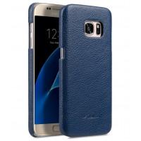Кожаный чехол накладка для Samsung Galaxy S7  Синий