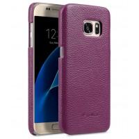 Кожаный чехол накладка для Samsung Galaxy S7  Фиолетовый