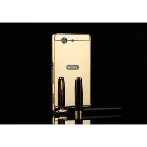 Двухкомпонентный чехол c металлическим бампером с поликарбонатной накладкой и зеркальным покрытием для Sony Xperia Z3 Compact
