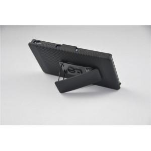 Антиударный поликарбонатный чехол с независимым защитным модулем для экрана на клипсе под ремень и ножкой-подставкой для Sony Xperia Z3 Compact