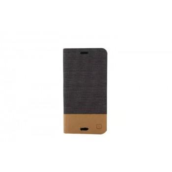 Чехол горизонтальная книжка подставка текстура Линии на силиконовой основе с отсеком для карт и тканевым покрытием для Sony Xperia Z3 Compact