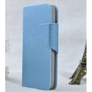Чехол горизонтальная книжка подставка текстура Золото на пластиковой основе с отсеком для карт на магнитной защелке для Samsung Galaxy S4 Mini  Голубой
