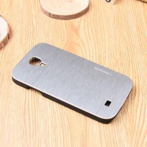 Пластиковый непрозрачный матовый чехол с текстурным покрытием Металл для Samsung Galaxy S4 Mini Белый