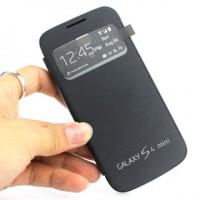 Чехол горизонтальная книжка на пластиковой встраиваемой основе с окном вызова для Samsung Galaxy S4 Mini Черный