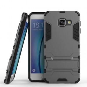 Противоударный двухкомпонентный силиконовый матовый непрозрачный чехол с поликарбонатными вставками экстрим защиты с встроенной ножкой-подставкой для Samsung Galaxy A3 (2016)  Серый