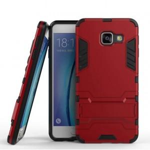 Противоударный двухкомпонентный силиконовый матовый непрозрачный чехол с поликарбонатными вставками экстрим защиты с встроенной ножкой-подставкой для Samsung Galaxy A3 (2016)  Красный