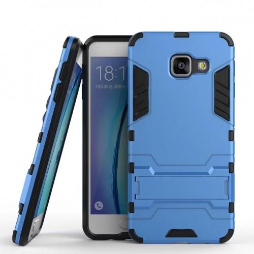 Противоударный двухкомпонентный силиконовый матовый непрозрачный чехол с поликарбонатными вставками экстрим защиты с встроенной ножкой-подставкой для Samsung Galaxy A3 (2016)