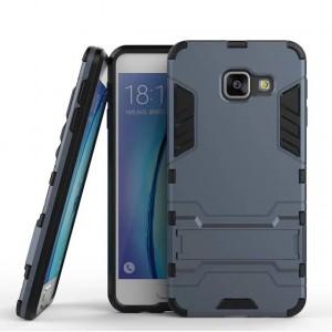 Противоударный двухкомпонентный силиконовый матовый непрозрачный чехол с поликарбонатными вставками экстрим защиты с встроенной ножкой-подставкой для Samsung Galaxy A3 (2016)  Синий
