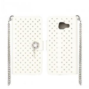Чехол портмоне подставка текстура Точки на пластиковой основе на дизайнерской магнитной защелке для Samsung Galaxy A3 (2016)  Белый