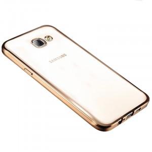Силиконовый глянцевый полупрозрачный чехол с текстурным покрытием Металлик для Samsung Galaxy A3 (2016) Бежевый