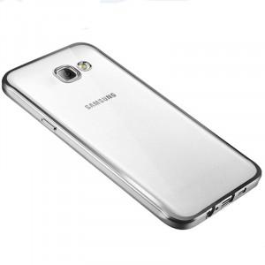 Силиконовый глянцевый полупрозрачный чехол с текстурным покрытием Металлик для Samsung Galaxy A3 (2016) Серый