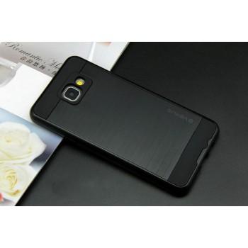 Противоударный двухкомпонентный силиконовый матовый непрозрачный чехол с поликарбонатными вставками экстрим защиты для Samsung Galaxy A3 (2016)