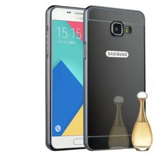 Двухкомпонентный чехол c металлическим бампером с поликарбонатной накладкой и зеркальным покрытием для Samsung Galaxy A3 (2016) Черный